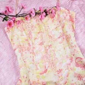 Ann Taylor Floral A-line Linen Dress